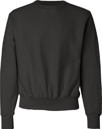 Champion Mens Men Reverse Weave Fleece Crew Black
