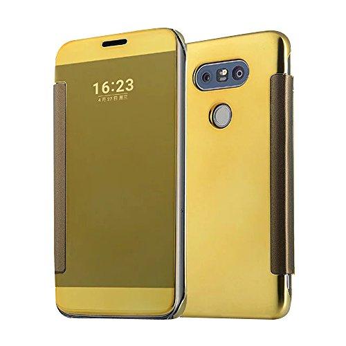 Cuitan Luxus Electroplate Spiegel PC Flip Hülle (PU Leder Verbinden) für LG G5, Mode Kreative Entwurf Plating Mirror PC Hart Schutzhülle Handyhülle Handytasche Tasche Case Cover - Gold