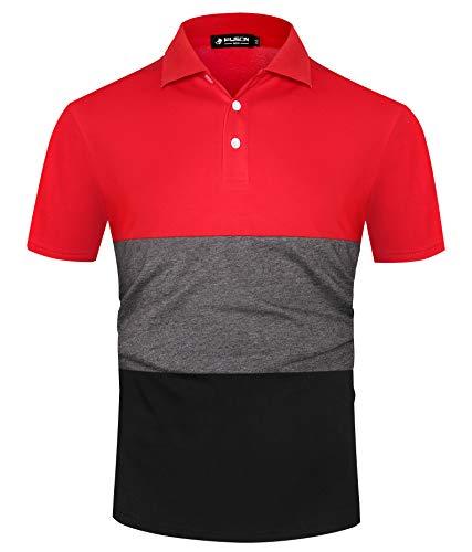 Kuson Herren Poloshirt Kurzarm Streifen Sommer T-Shirt Men's Polo Shirt Baumwolle Rot XL