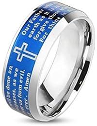 Paula & Fritz® Anillo de acero inoxidable acero quirúrgico 316L Plata Azul 6o 8mm de ancho Padre Nuestro Lord 's Prayer Amén Ring tamaños 47(15) 69(22) R de m4058b