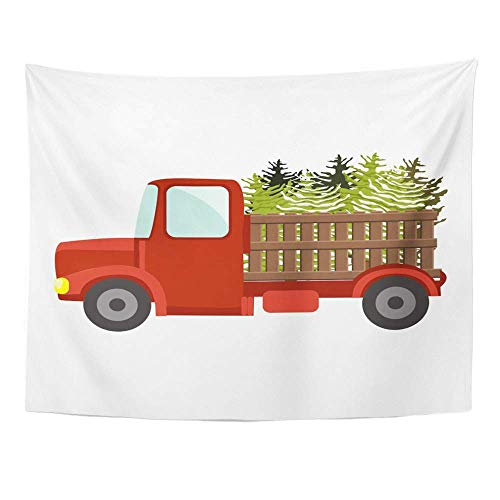 Wall, Tapestry Wall Hanging, Cartoon Red Truck Carrying Green Christmas Trees Transportation of Natural Eco 60