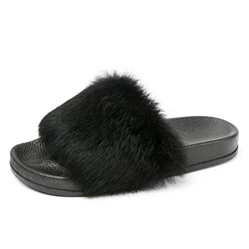 Longra pantofole molle della piattaforma di inverno della peluche della pelliccia molle delle signore (eu size:38, nero)