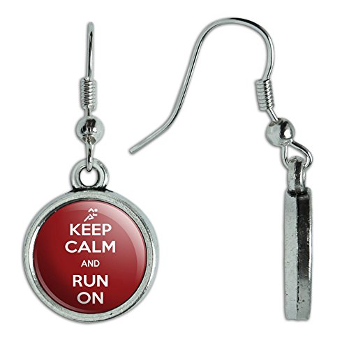 Neuheit Dangling Drop Charm-Ohrringe Keep Calm und p-y Run On Marathon Runner - Keep Calm and