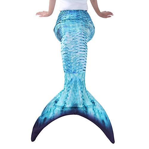 YiZYiF Erwachsene Frauen Meerjungfrau Schwanz Flossen Badeanzug Schwimmen Kostüme für Strandurlaub Performance Cosplay Pfau Blau - Schwimmen Kostüm Für Damen