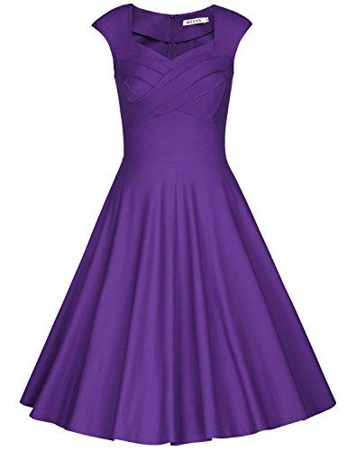 MUXXN Damen Retro 1950er Kleider Swing Kleid Vintage Rockabilly Kleid Partykleid Cocktailkleid(S,...