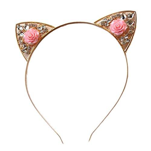 Frcolor Blume Katze Ohren Stirnbänder Elegante Frauen Mädchen Haarband Strass Kristall Haarband Halloween Party Cosplay Kopfschmuck (Rosa)