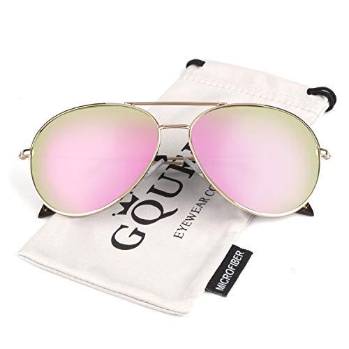 GQUEEN Pilotenbrille Damen Polarisiert Fliegerbrille Sonnenbrille Verspiegelt MZZ9