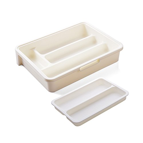 HornTide 3-in-1 Drawer Tray Expandable Utensil Storage Organizer Plastic Tableware Holder for Cutlery Receive and More - White