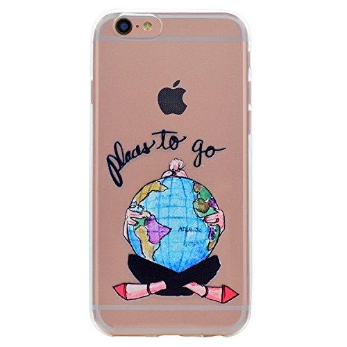 iPhone 6 Plus Cover, Bonice iPhone 6S Plus Custodia (5.5), Ultra Slim Thin Morbido TPU Clear Trasparente Animale Cat Case Pattern 06