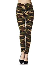 0185503dcd47e Oyshome Women's Cotton Blend Camouflage Army Print Jegging (OYS-1182,  Brown, Free