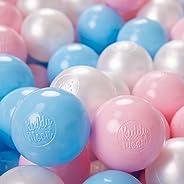 KiddyMoon 200 ∅ 6CM Palline Morbide Colorate per Piscina Bambini Fatto in EU, Azzurro/Rosa Chiaro/Perla