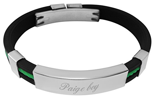 Engraved Paige boy rubber & steel identity ID bangle bracelet - YD