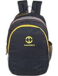 TANWORLD Melborn Dark Grey & Yellow 15.6 Inch Polyester 31 Liter Unisex Laptop Backpack Bag TWLTBP08_Black_Grey