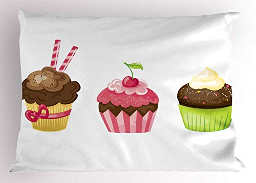 Dessert Pillow Sham, Puffy Party Cupcakes Rolled Wafers Stucked in The Creamy Toppings Cherry Frostings, Decorative Standard Queen Size Printed Kissenbezug Pillowcase, 18 X 18 Inches, Multicolor -