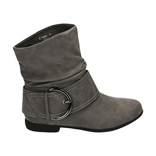 Damen Stiefeletten Cowboy Western Stiefel Boots Flache Schlupfstiefel Schuhe 91 (37, Grau)