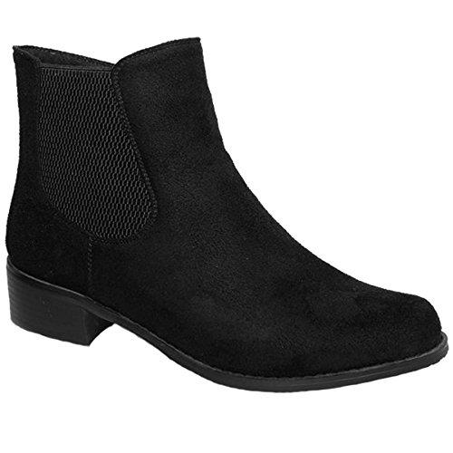Mezzo talon glc541 Fantasia àélastique Boutique Noir daim bas côté faux bottine femmes chaussures qwqt5B