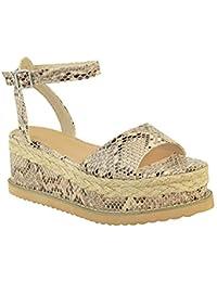para mujer Grueso Alpargata Sandalias De Tiras Plataforma Zapatos De Cuña Talla