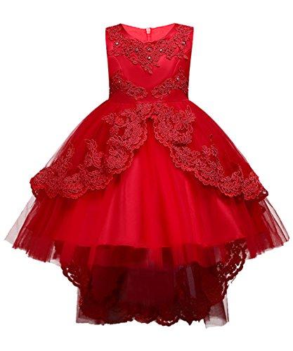 Kinder Tüll Hochzeitskleid Blumenmädchenkleid Perlstickerei Knielang Rot Gr.140