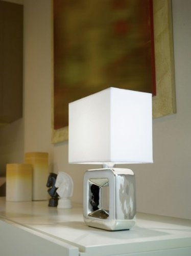Eglo TEMPIO 1 - lámparas de mesa (Cromo, Color blanco, Cerámico, Dormitorio,...