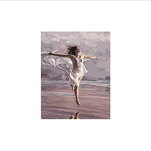KDGJG Mujer Corriendo por El Mar Pintura por Números En Lienzo Pintado A Mano Digital Imagen De Pared 40 * 50 Enmarcado para La Decoración del Hogar