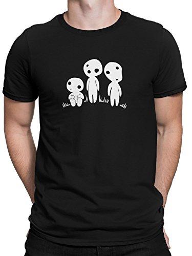 vanVerden Herren Fun T-Shirt Drei Süße Kodama Anime Fan Baum Geister Plus Geschenkkarte, Größe:5XL, Farbe:Schwarz (T-shirt Weißes Baum, Weihnachten,)