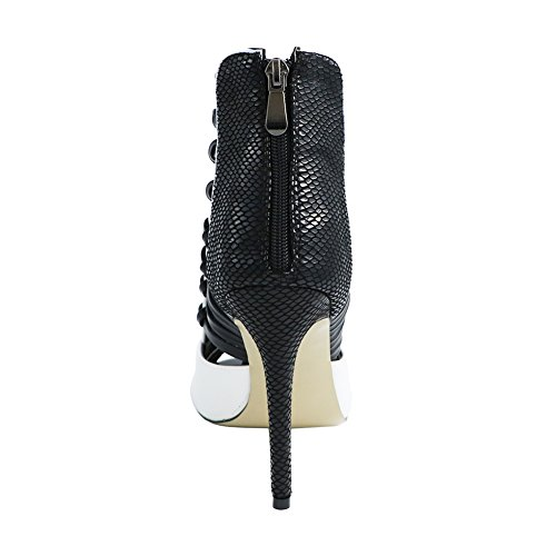 EKS Damen Peep Toe High Heels Stilettos Stiefeletten Kleid Sandalen Modeschuhe EU 35-46 Schwarz