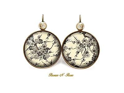 Boucles d'oreilles * Fleurs de pommier * cabochon bronze marron rétro beige perles verre dormeuses