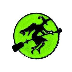 Cosanter Halloween Broschen für Kinder Legierung Schmuck Geschenk, Grün Hexen Muster 1,9×1,7 cm