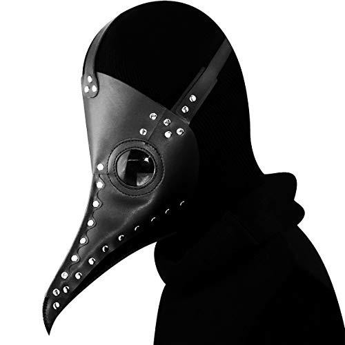 te Pest Doktor Vogel Maske Latex Steampunk Halloween Cosplay Kostüm Lange Nase Schnabel Party Dekoration Requisiten,Black-OneSize ()