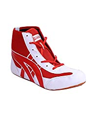 Hi Speed Men White, Red Mesh/Synthetic Leather Wrestling Shoes (DR-wrsmat2, Size: 44 EURO)