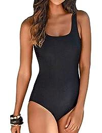 Aleumdr Badeanzug Damen Push up Bademode Schwimmanzug Bauchweg Farbverlauf  Figurformenden Effekten Rückenfrei Bandeau ... 689520c45c