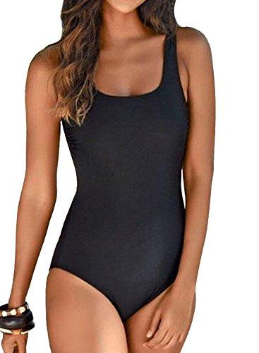 Happy Sailed Damen Badeanzug Farbverlauf Kreuz Rückseite Einteiler Swimsuit, 1 Schwarz, Large (EU40-42)