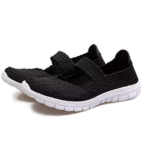 JohnJohnsen Art und Weise flechten Frauen beiläufige Ebene Elastikband Sommer-Schuh weiche atmungsaktive Schuhe Leichte Tanzschuhe (schwarz)