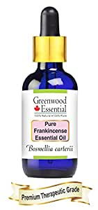 Greenwood Essentials Pure Frankincense Essential Oil (Boswellia carterii) with Glass Dropper 100% Natural Therapeutic Grade Steam Distilled 15ml