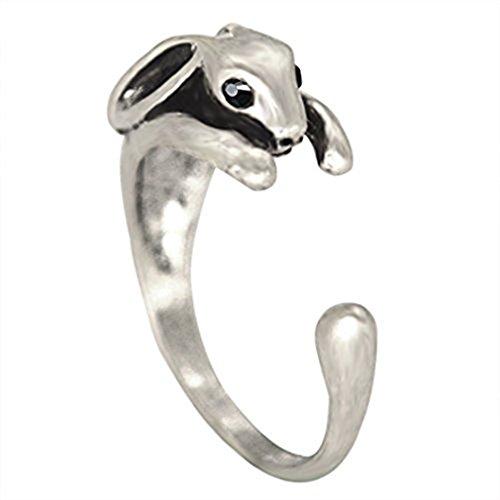 Conejo de mayor Animal de anillo ajustable de plata y oro