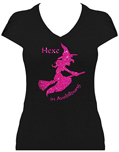 Fun Shirt Premium Sprüche Hexe in Ausbildung Glitzeraufdruck Hexe auf Besen Karneval Fasching Kostüm, T-Shirt, Grösse L, Druck pink Glitzer