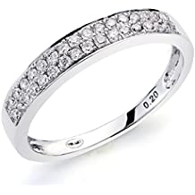 Alianza Oro blanco 18Kt. con diamantes 0,20 ct