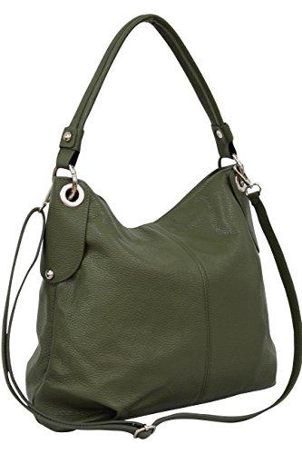 AMBRA Moda Damen echt Ledertasche Handtasche Schultertasche Beutel Shopper Umhängtasche GL012 (Olivgrün) -