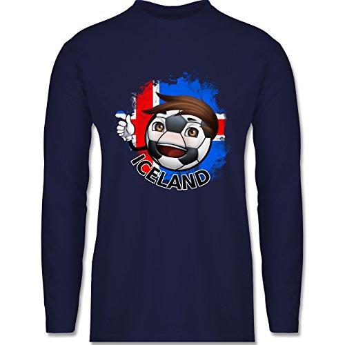 Shirtracer Fußball-WM 2018 - Russland - Fußballjunge Island - Herren Langarmshirt Navy Blau