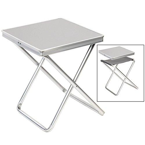 Bocamp-Holland Alu Hocker mit MDF Tischplatte, Tablett, 40x40x46cm: Klapphocker Campinghocker Falthocker Angelhocker Campingtisch klappbar
