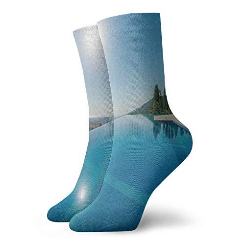 Infinity Pool On A Summer Daytime Lifestyle Romantic Destinations Compression Socks Sport Athletic 30 cm Long Crew Socks For Men Women -