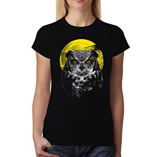 Eule Nacht Vogel Tiere Damen T-shirt XS-2XL Neu Schwarz