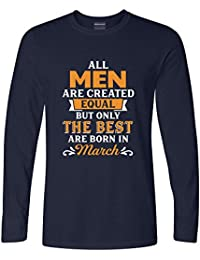 Addmetocart Solid Men's All Men Are Created Equal But Only The Best Are Born In March Full Sleeve Navy T-Shirt
