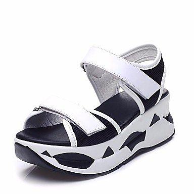 RUGAI-UE Sommer Damen Sandalen Schuhe Casual PU Komfort Keilabsatz, Weiß, US 9 / EU 40/UK7/CN41 Black/White
