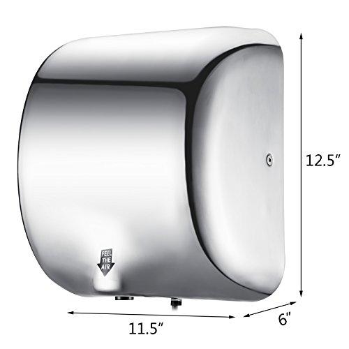Buoqua Elektrische Händetrockner 1800W Automatischer Handtrockner Electric Hand Dryer Elektrische Händetrockner Edelstahl Kommerzielle Händetrockner für Toiletten Waschräume Hohen Verkehr (Wort Logo)