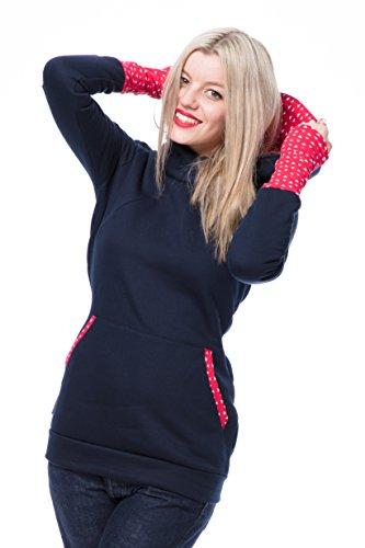GoFutureWithLove - Robe spécial grossesse - Manches Longues - Femme Marine mit weißen Dreiecken auf rot