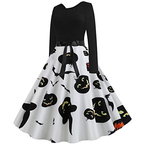 MasteriOne Frauen Halloween Party Langarm Kleid A-line Knielang Herbst Kleid Retro-Look Abendkleid Casualkleid Partykleid Print Sexy mit bedruckter Rundhalsausschnitt Kürbis