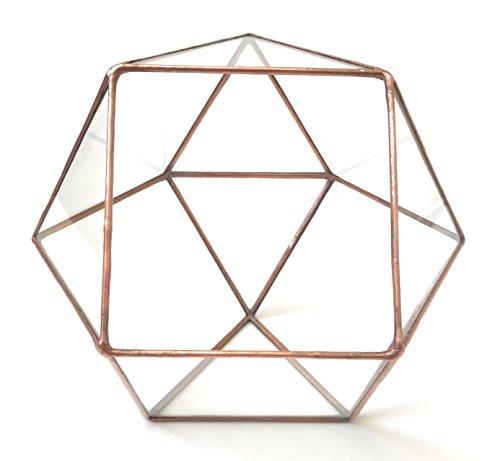 Cubitronqué à l'envers/géométrique Terrarium en verre/pot de fleurs moderne/fait à la main en Angleterre M Cuivre clair