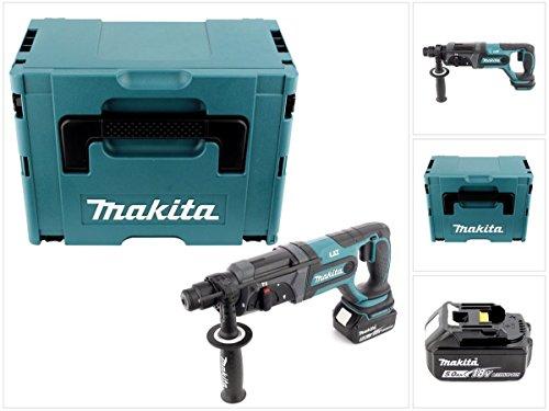 Makita DHR 241 T1J Akku Bohrhammer 18 V Li-Ion mit SDS-Plus Aufnahme im Makpac + 1x BL 1850 B 5,0 Ah Akku