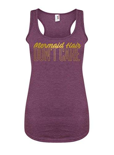 Womens Slogan Racerback Vest Top Mermaid Hair, Don't Care Purple Medium with Gold (Anvil Top Tank Womens)